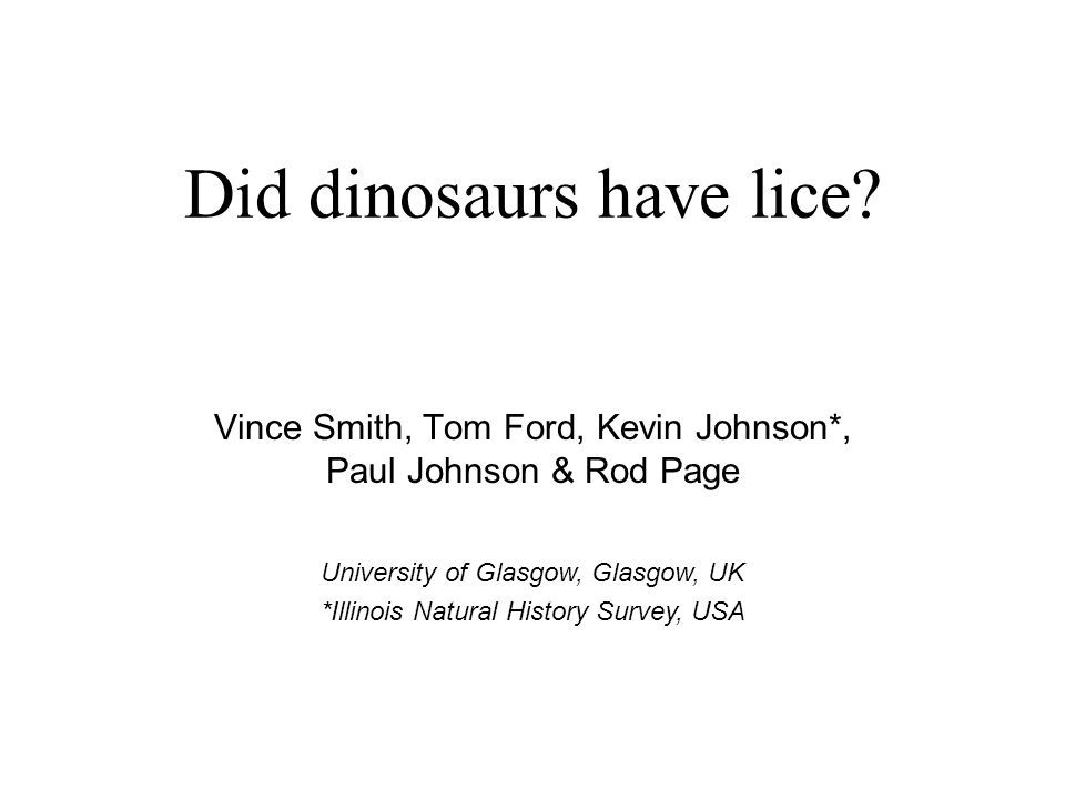 Did dinosaurs have lice