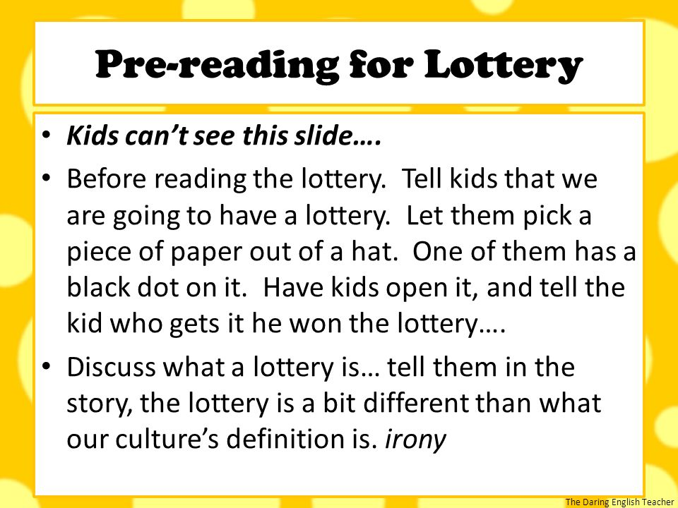 the lottery short story pdf