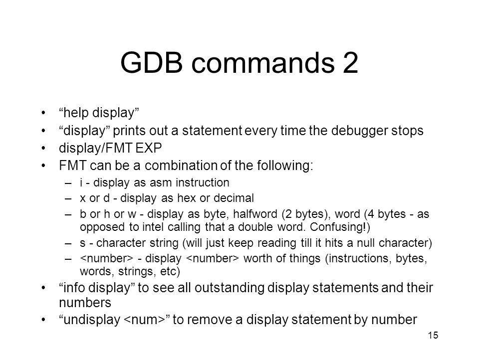 GDB commands 2 help display
