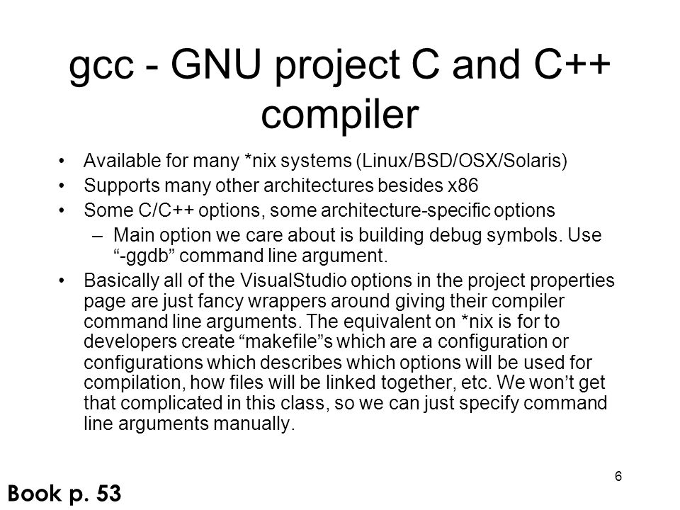 gcc - GNU project C and C++ compiler