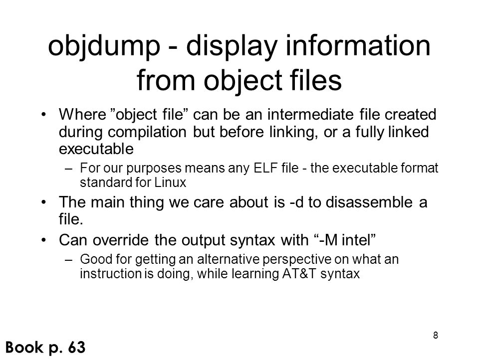 objdump - display information from object files