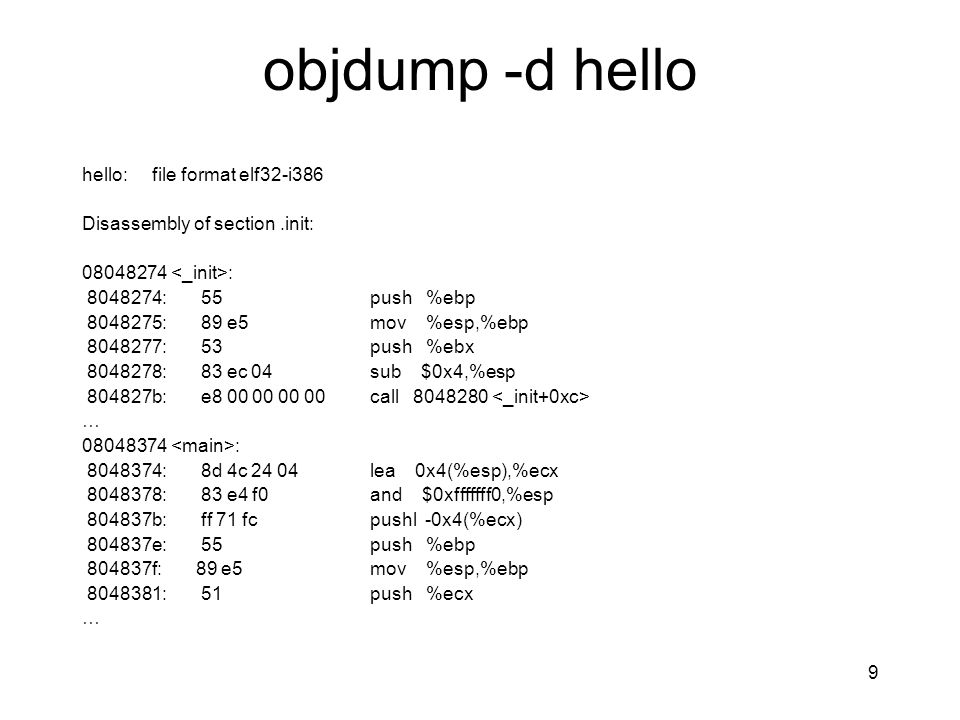 objdump -d hello hello: file format elf32-i386