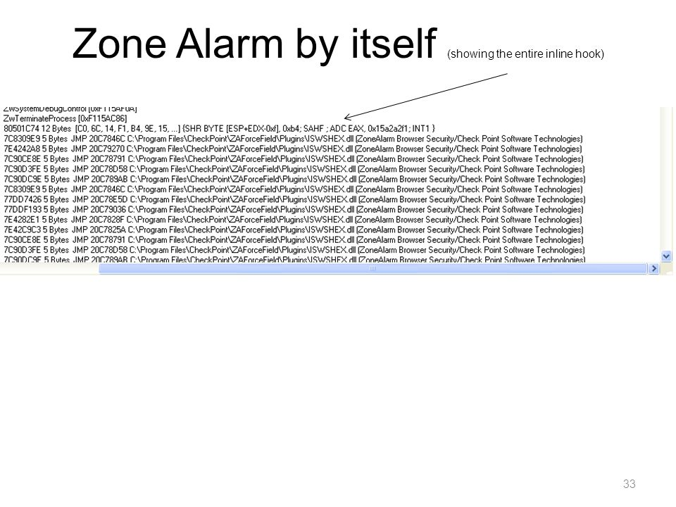 Zone Alarm by itself (showing the entire inline hook)