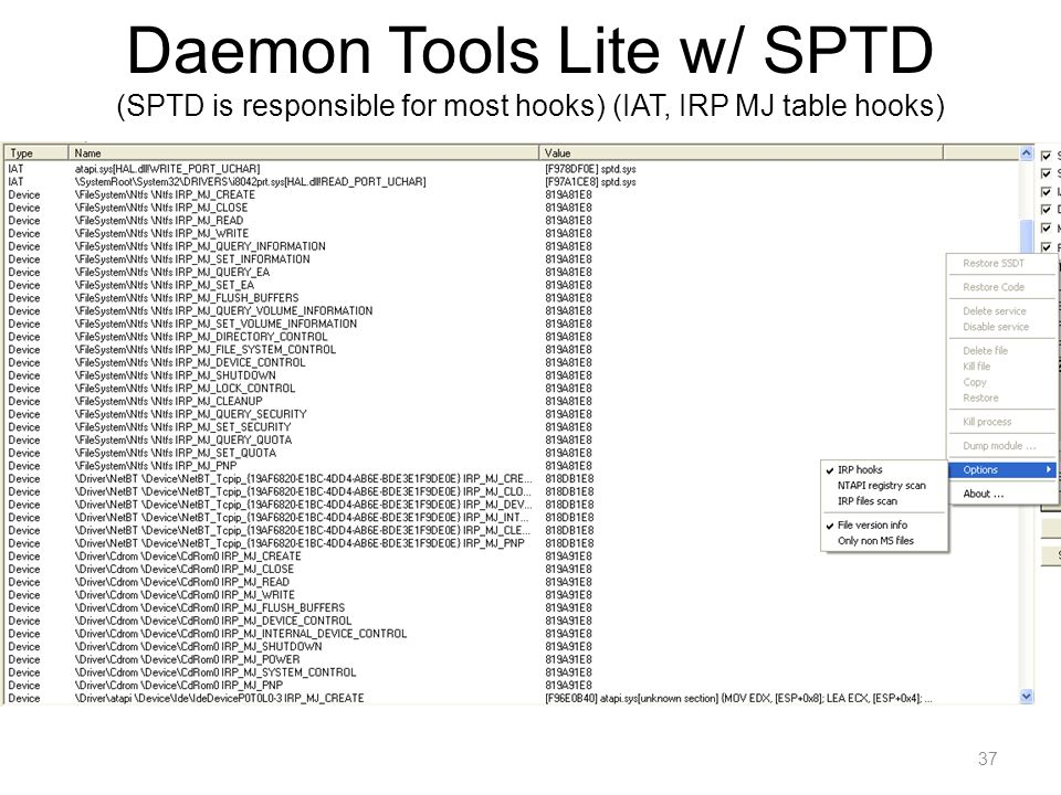 Daemon Tools Lite w/ SPTD (SPTD is responsible for most hooks) (IAT, IRP MJ table hooks)