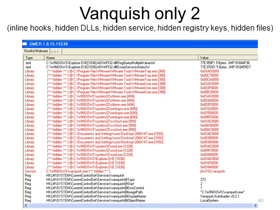 Vanquish only 2 (inline hooks, hidden DLLs, hidden service, hidden registry keys, hidden files)