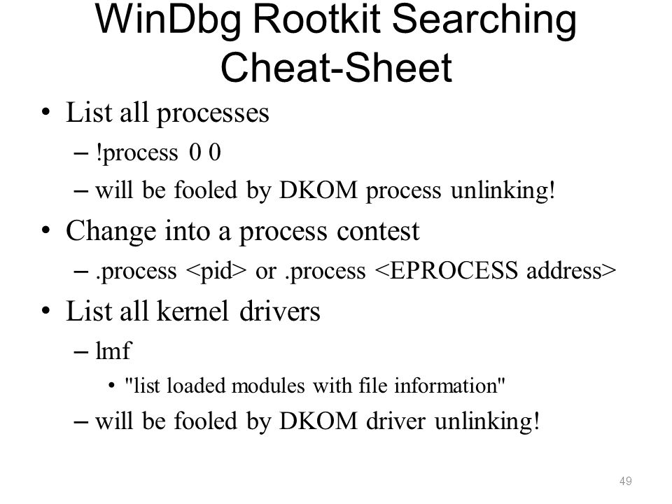 WinDbg Rootkit Searching Cheat-Sheet