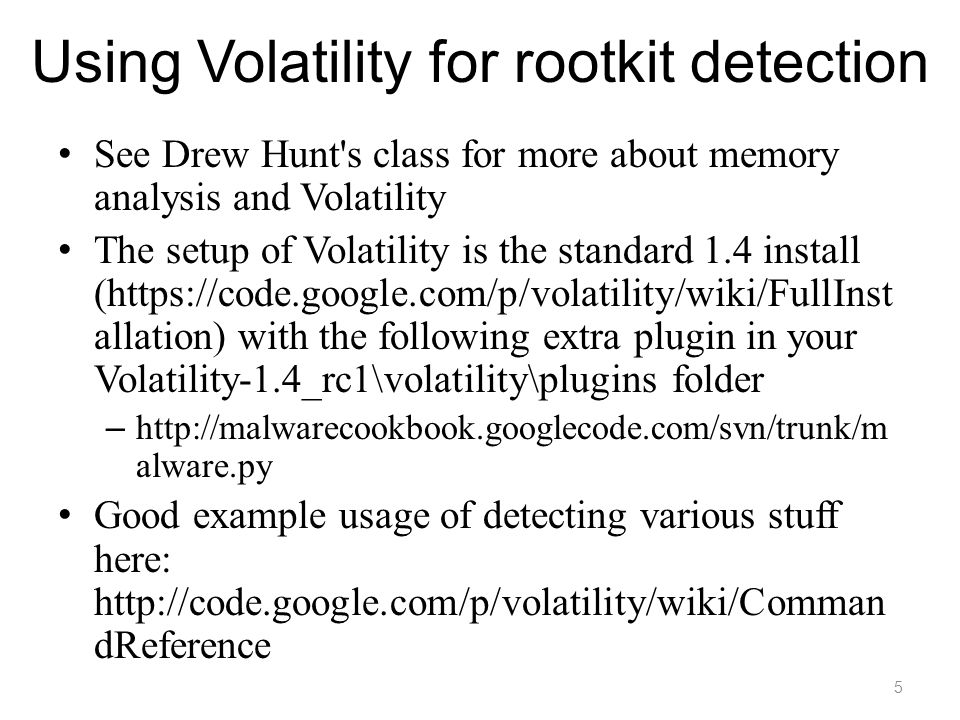 Using Volatility for rootkit detection