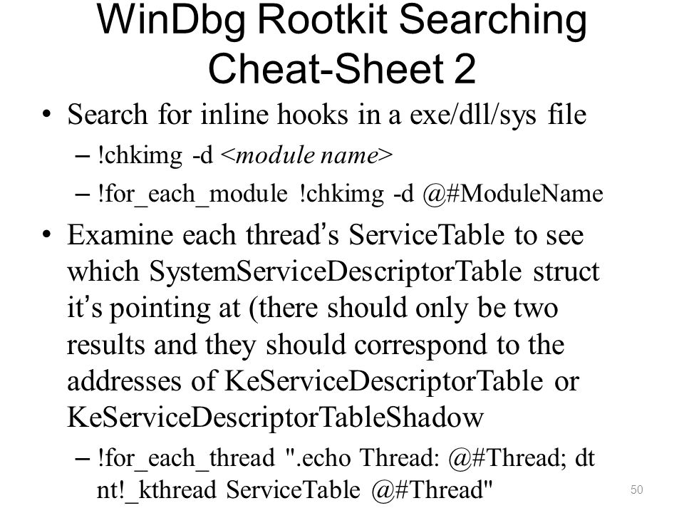 WinDbg Rootkit Searching Cheat-Sheet 2