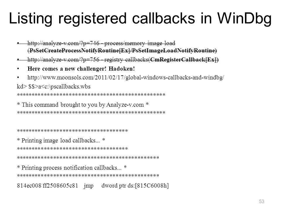 Listing registered callbacks in WinDbg