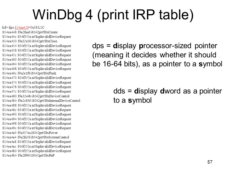 WinDbg 4 (print IRP table)