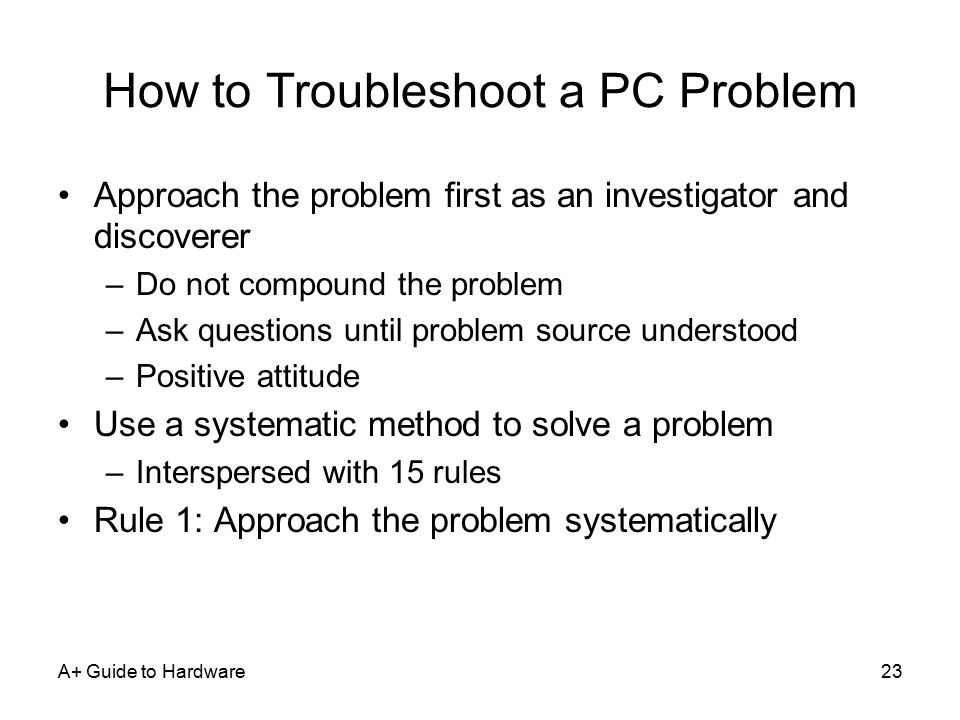 how to troubleshoot problems in your pc