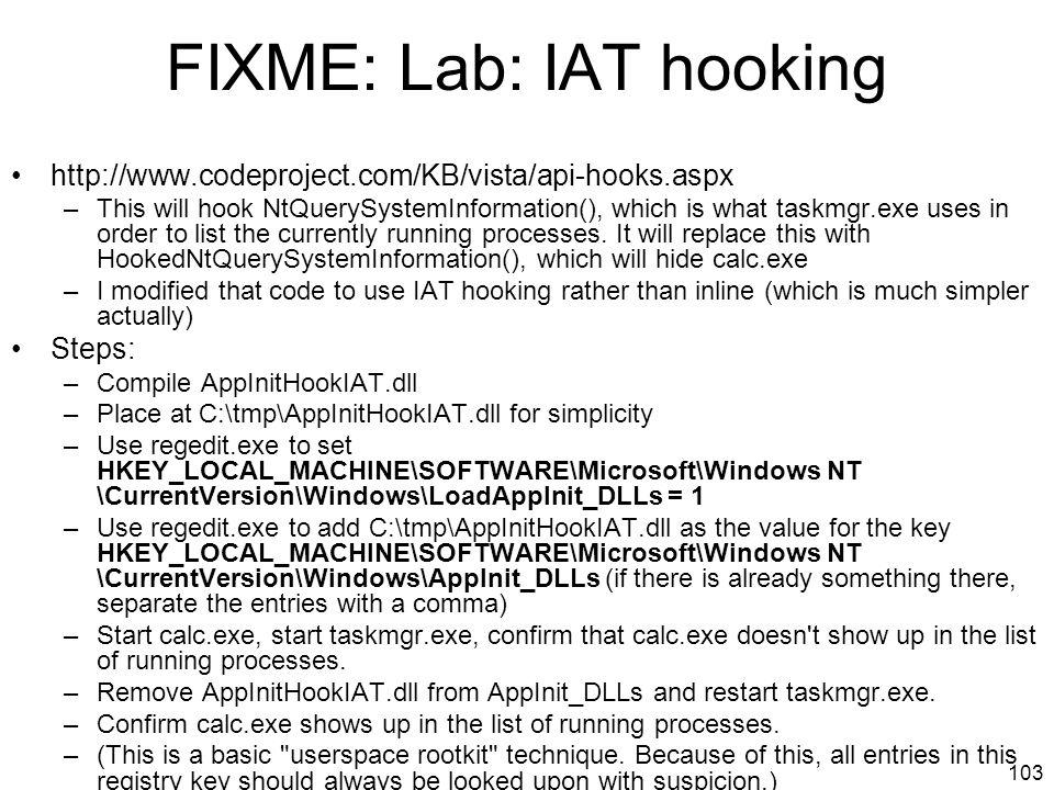 FIXME: Lab: IAT hooking