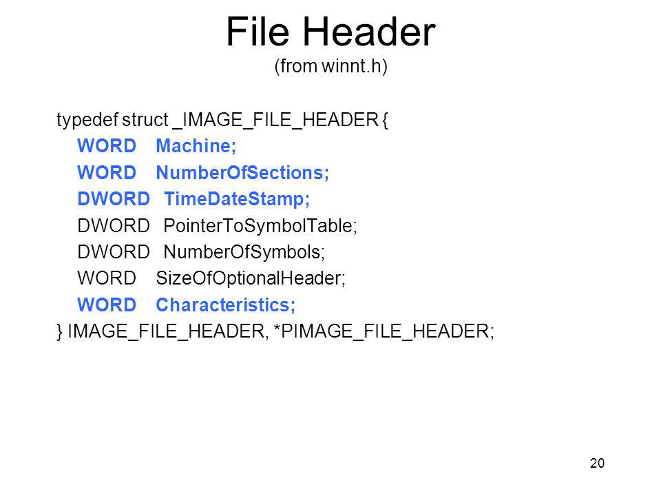 File Header (from winnt.h)