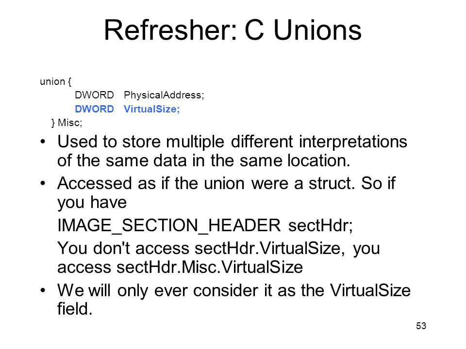 Refresher: C Unions union { DWORD PhysicalAddress; DWORD VirtualSize; } Misc;