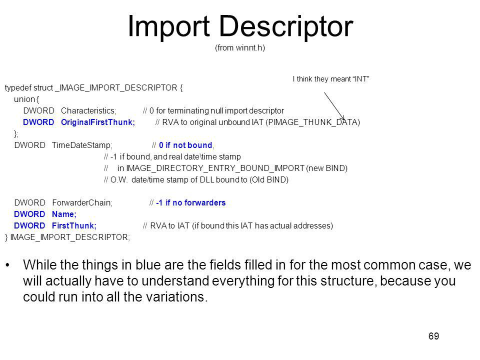 Import Descriptor (from winnt.h)
