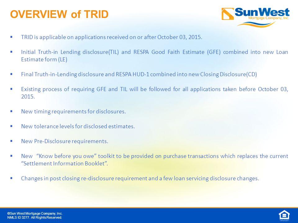 TILA RESPA Integrated Disclosures (TRID) - ppt download
