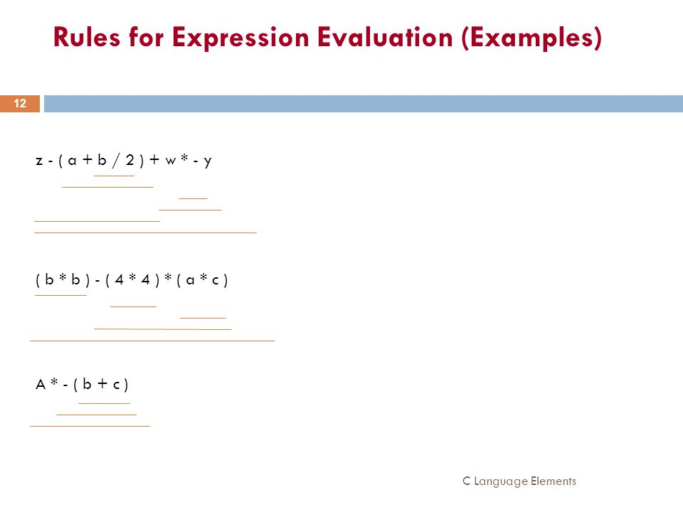 Rules for Expression Evaluation (Examples)