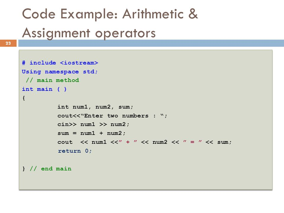 Code Example: Arithmetic & Assignment operators