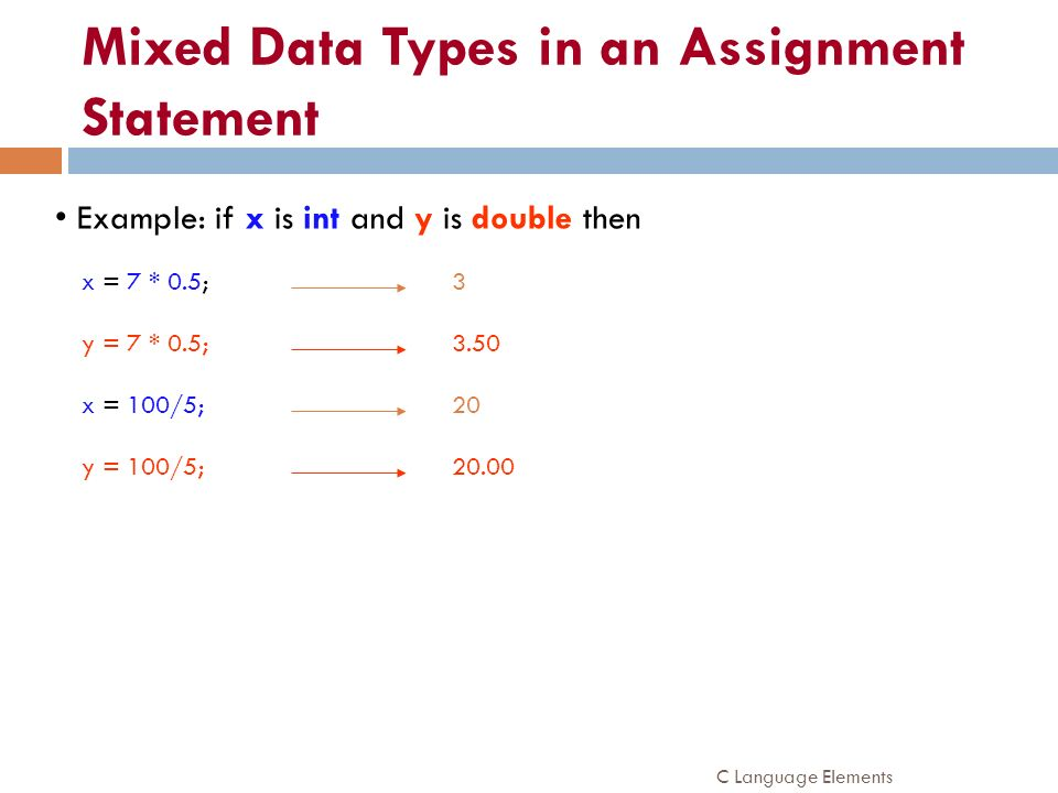 Mixed Data Types in an Assignment Statement