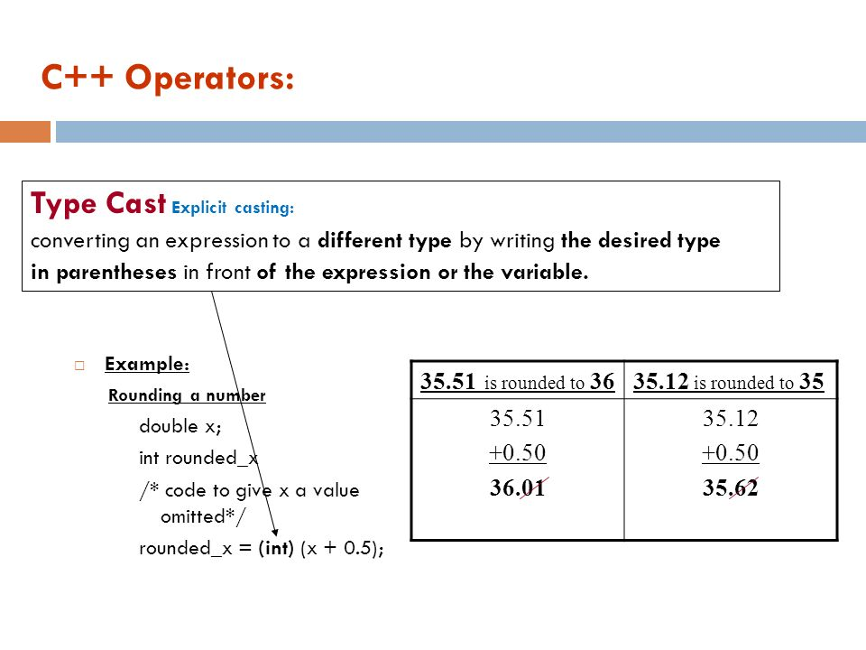 C++ Operators: Type Cast Explicit casting: