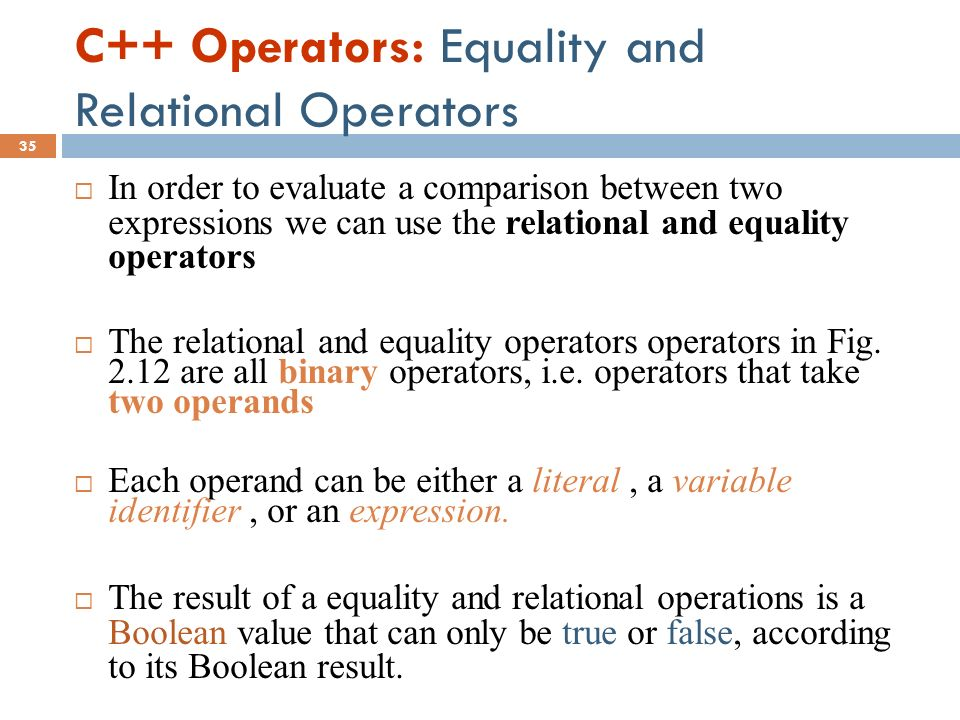 C++ Operators: Equality and Relational Operators