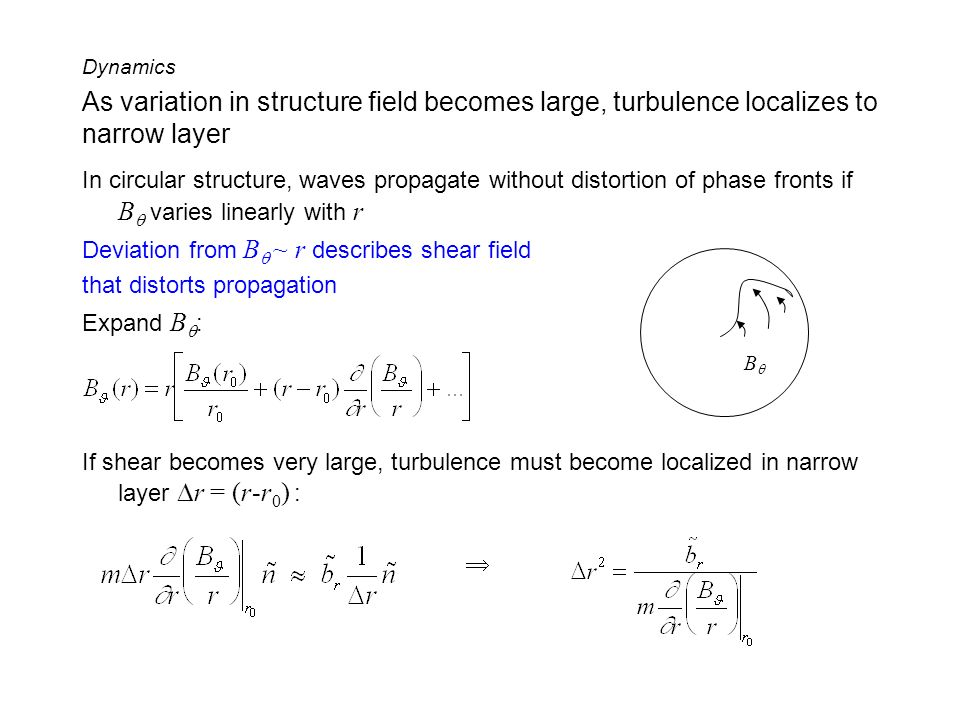 Dynamics As variation in structure field becomes large, turbulence localizes to narrow layer.