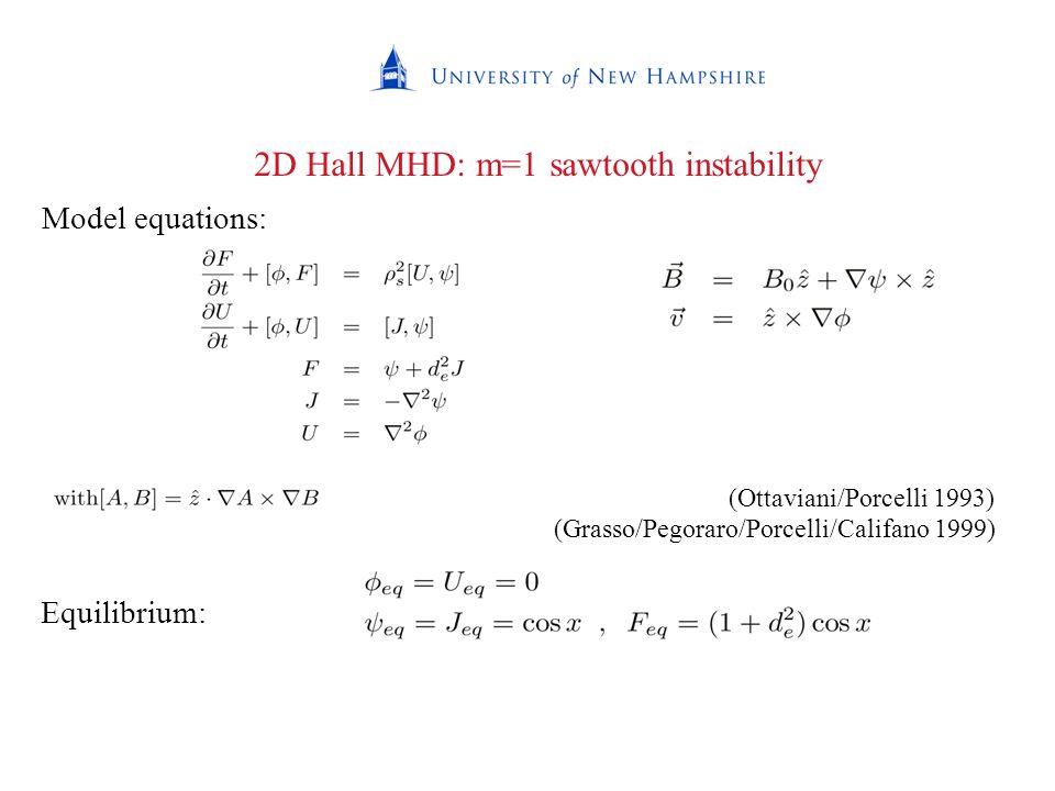2D Hall MHD: m=1 sawtooth instability