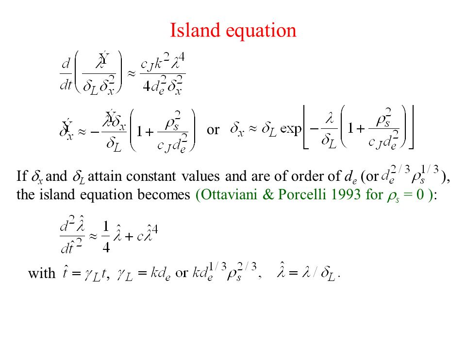 Island equation or.