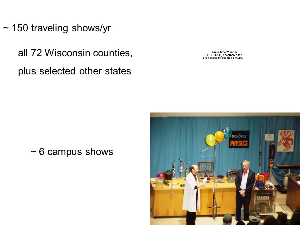 ~ 150 traveling shows/yr all 72 Wisconsin counties, plus selected other states ~ 6 campus shows