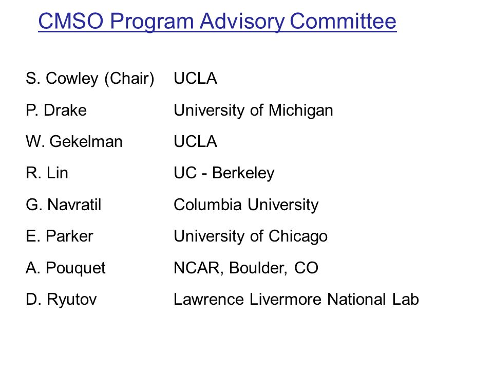 CMSO Program Advisory Committee