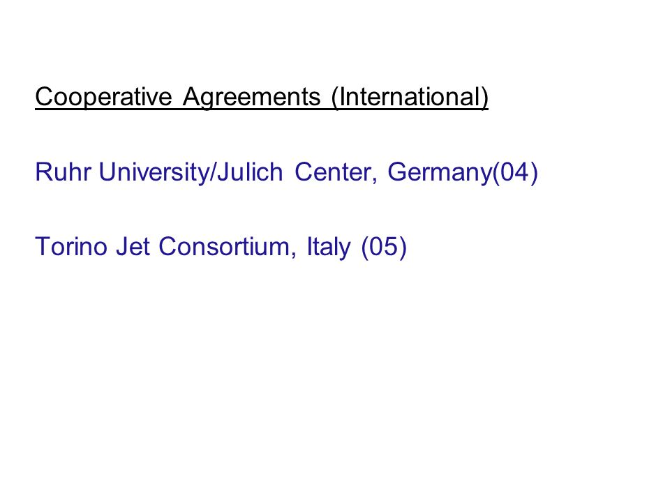 Cooperative Agreements (International)