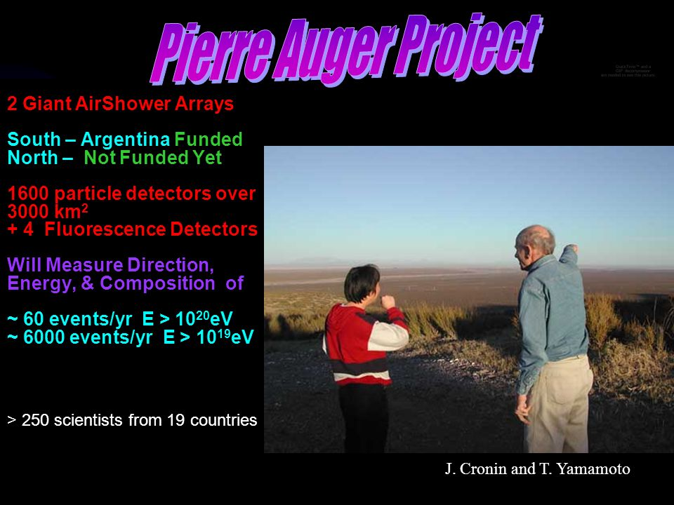 Pierre Auger Project 2 Giant AirShower Arrays South – Argentina Funded