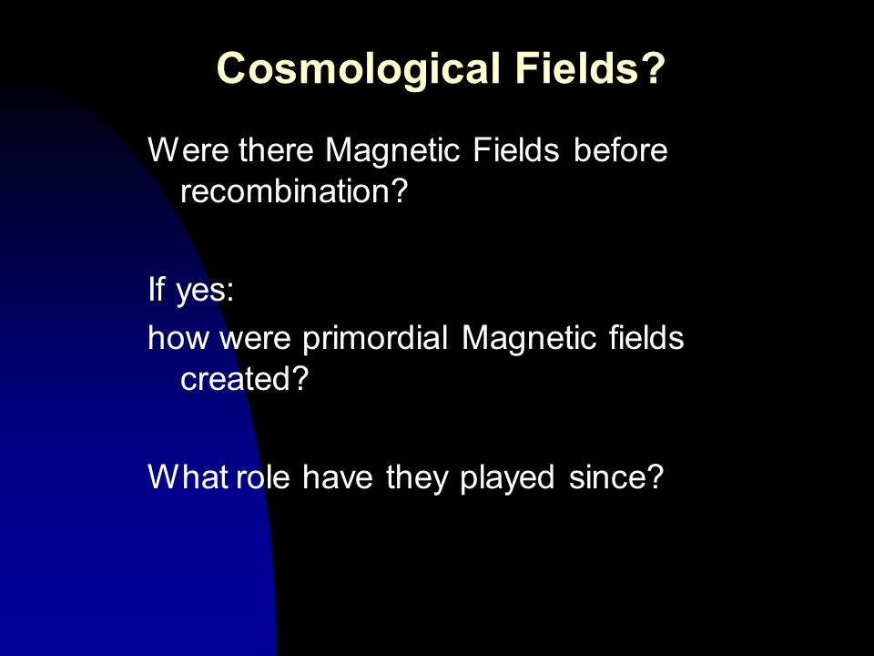 Cosmological Fields Were there Magnetic Fields before recombination