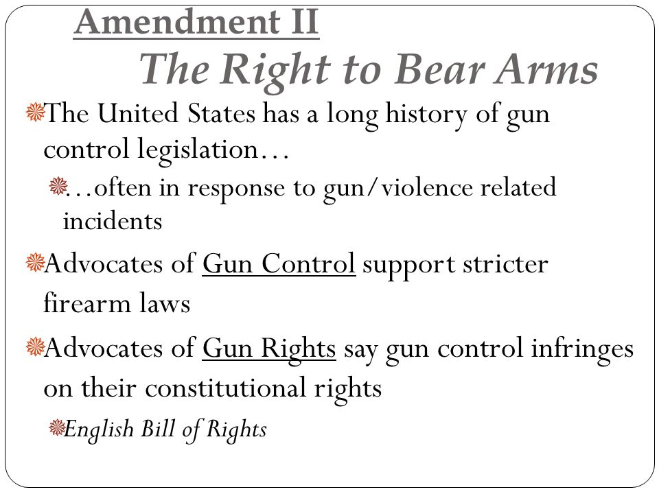 the importance of the amendment of gun control in the united states He claims that we do not need an amendment  this shows the importance of better gun control  two thirds of gun related deaths in the united states are.