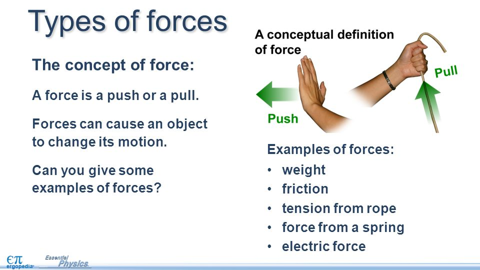force and weight the concept of force is simply a push or