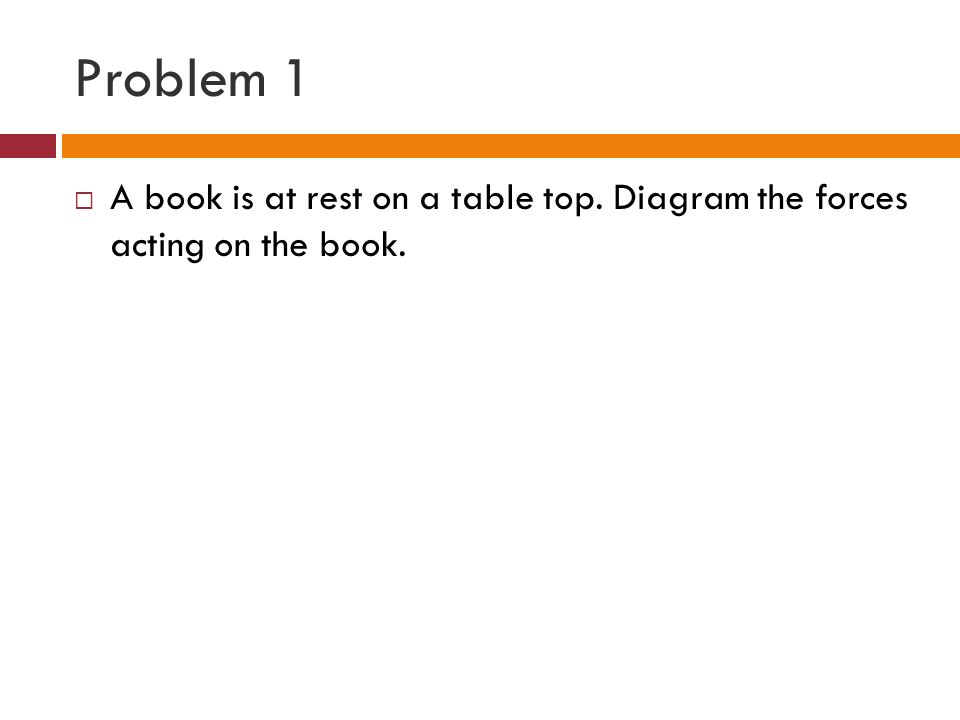 Problem 1 A book is at rest on a table top. Diagram the forces acting on the book.