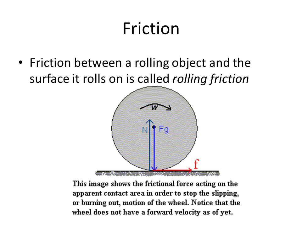 Friction Friction between a rolling object and the surface it rolls on is called rolling friction