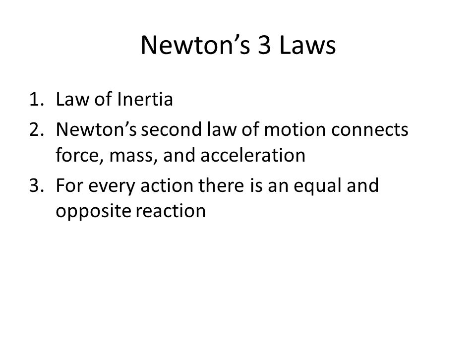Newton's 3 Laws Law of Inertia