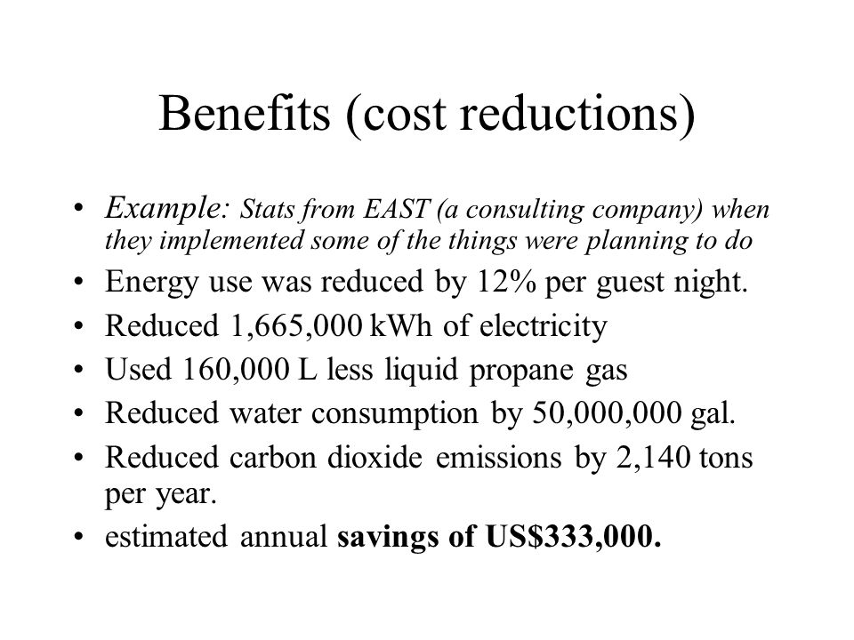 Benefits (cost reductions)