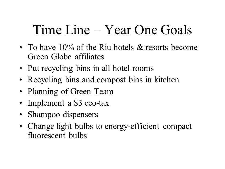 Time Line – Year One Goals
