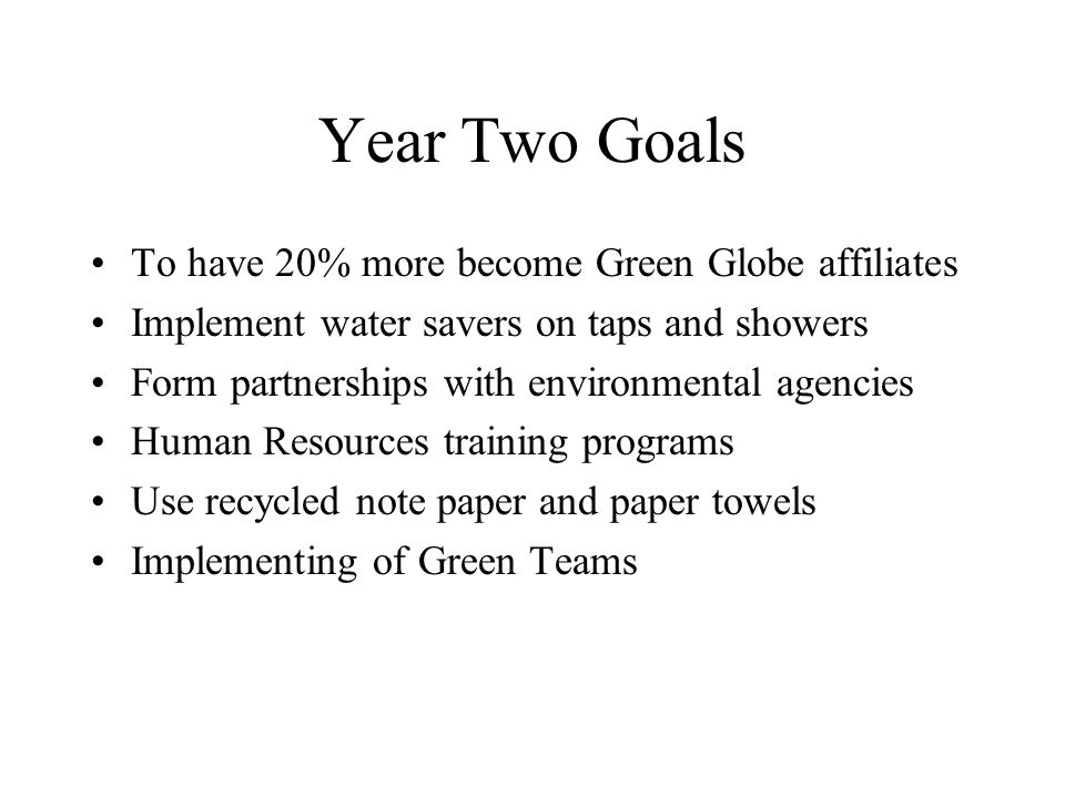 Year Two Goals To have 20% more become Green Globe affiliates