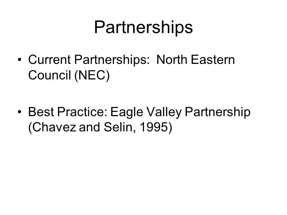 Partnerships Current Partnerships: North Eastern Council (NEC)