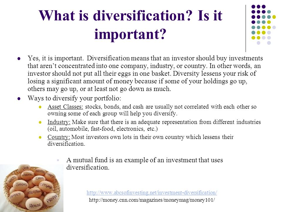 the importance of diversification in managing an investment portfolio The portfolio's volatility will be reduced if the investment's returns do not move exactly in line with those of the portfolio the limits of diversification a well-diversified portfolio provides reasonable protection under normal market conditions.