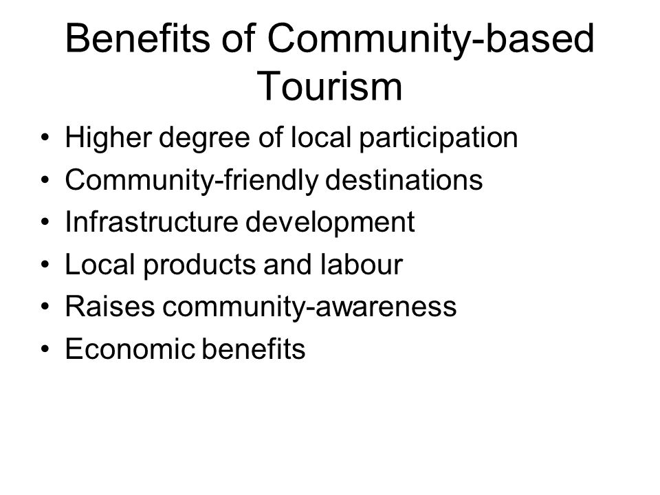 Benefits of Community-based Tourism