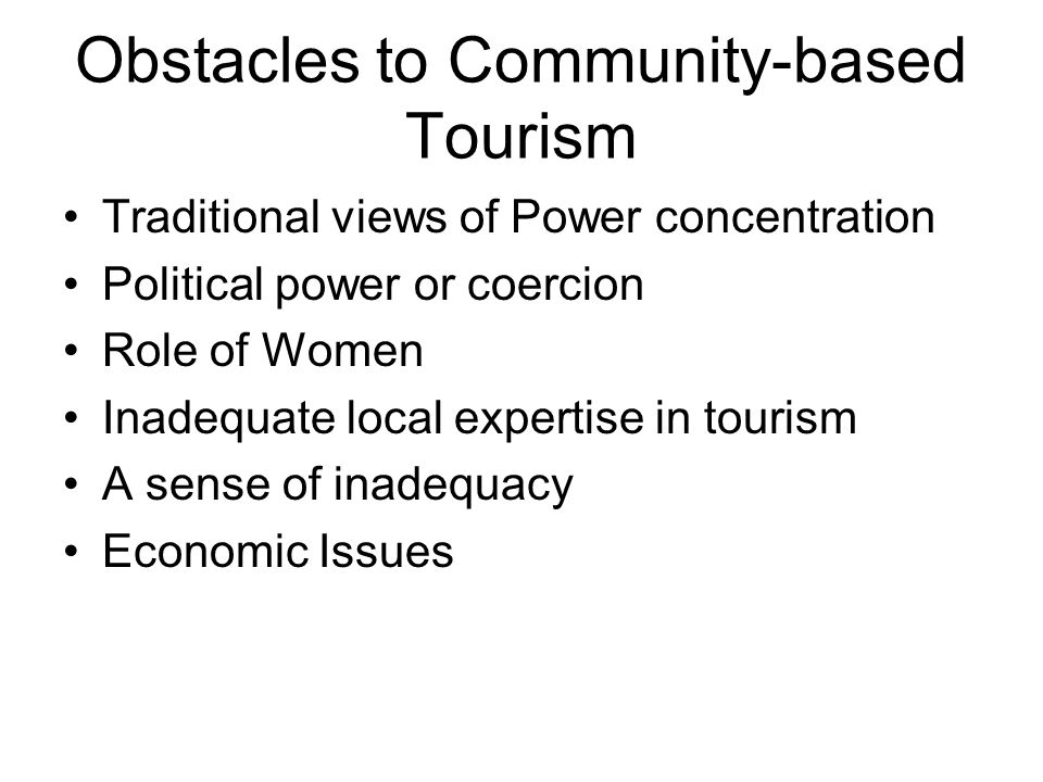 Obstacles to Community-based Tourism
