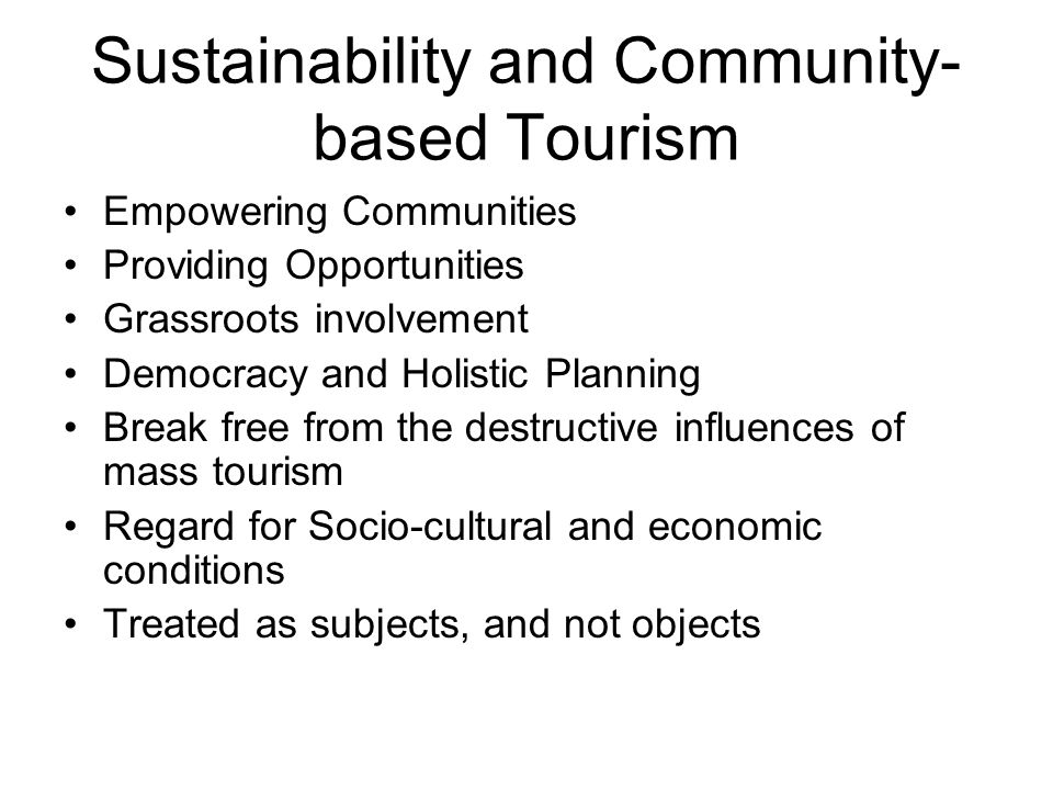 Sustainability and Community-based Tourism