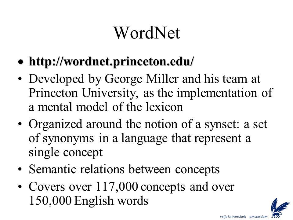 WordNet http://wordnet.princeton.edu/