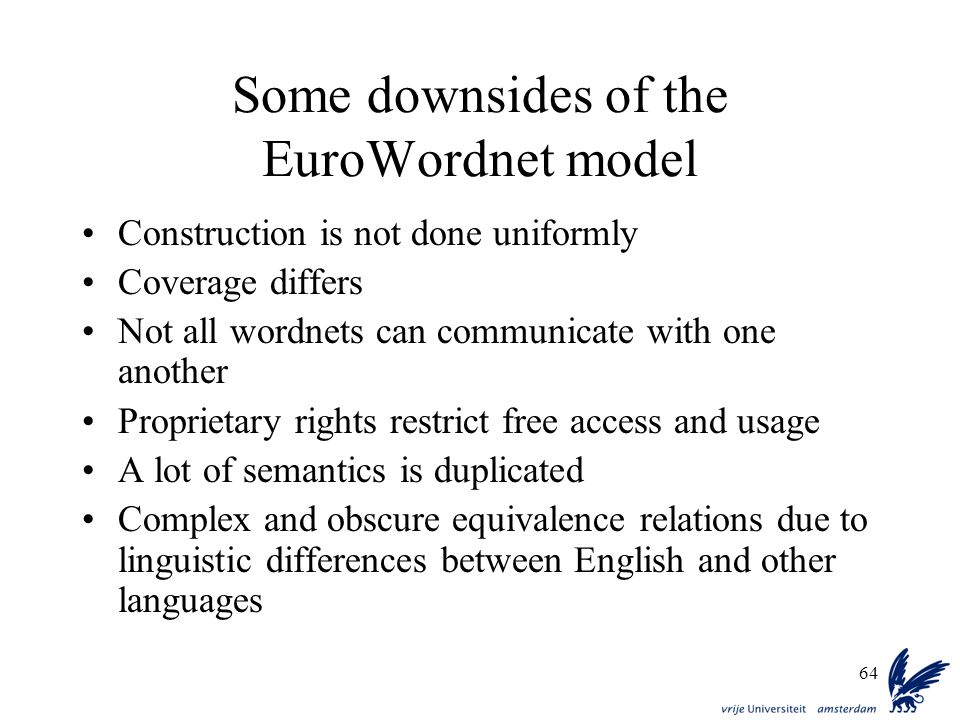 Some downsides of the EuroWordnet model