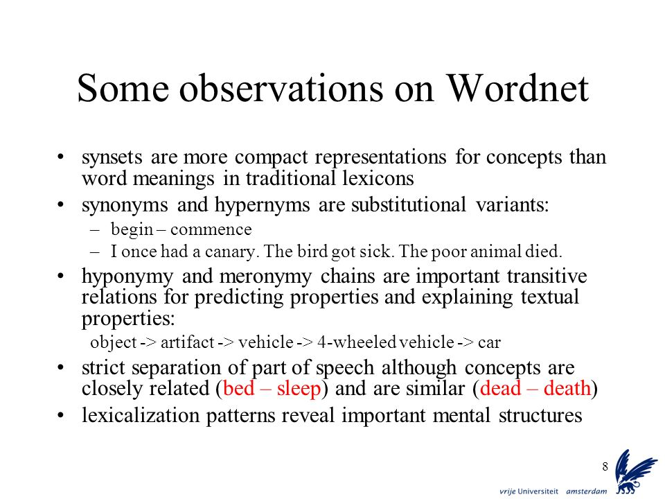 Some observations on Wordnet