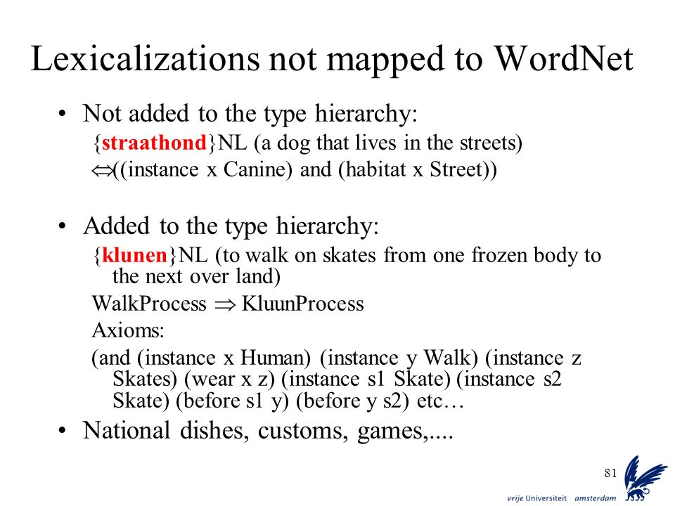 Lexicalizations not mapped to WordNet